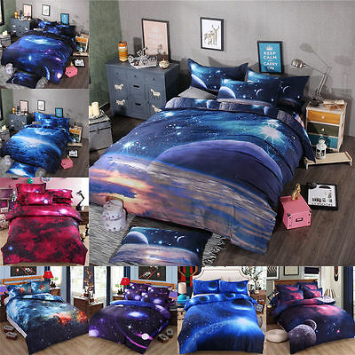 hot 3d galaxy bedding sets universe outer space duvet cover bed sheet fashion 1 - Galaxy Bedding Set