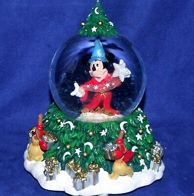 """Disney Mickey Mouse Sorcerer's Apprentice Christmas Musical WaterGlobe New 7"""""""