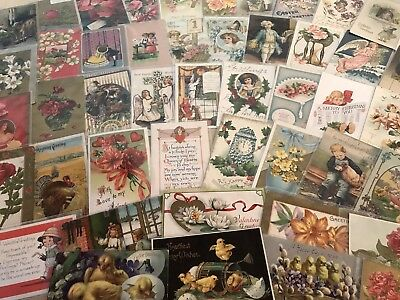 Vintage Mixed Lot of 87 Holidays & Greetings Postcards-Antique-~in Sleeves-p84