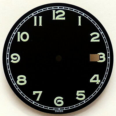 Military Zifferblatt ETA 2892-2 / 2824-2 / Quartz - SCHWARZ matt Ø 31,2mm Lumi
