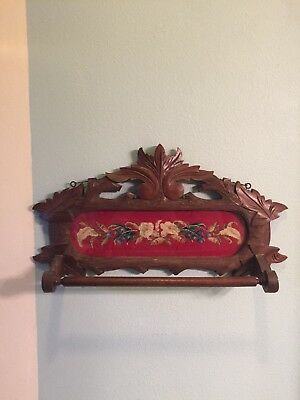 antique towel rack, black forest hand carved w/needlepoint insert