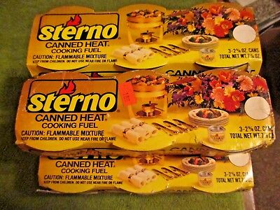 VTG Sterno Canned Heat Cooking Fuel 3-Pack 2.6 oz. Cans Fondue/Chafing/Warmers!