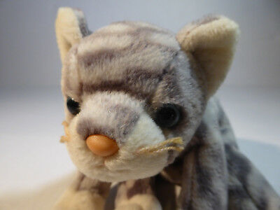 Ty Beanie Babies Silver Striped Tabby Cat (1999) Plush Toy w/Tush Tag Very Good