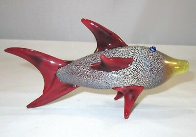 """Glass Fish Tobacco Pipe 6"""" Collectible Hand Blown Animal Red"""