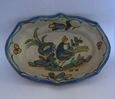 Vintage Guido Gambone Vietri donkey sign MCM pottery oval bowl blue yellow Italy