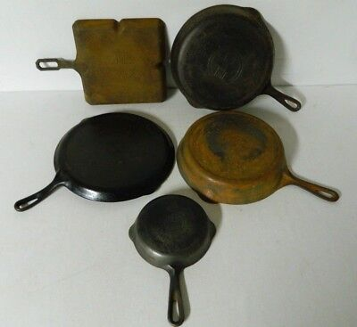 Lot Griswold Cast Iron Frying Pans Cliff Cornell Small Large Logo Straight Slant