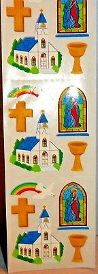 Sandylion Church/Stained Glass Window/Rainbow VINTAGE Stickers, RARE, 3 squares
