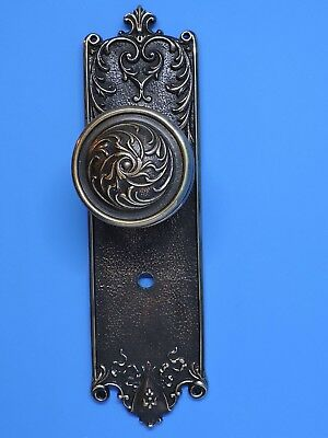 ANTIQUE DOOR KNOB BRASS WITH BACKPLATE ART NOUVEAU VICTORIAN Benwick