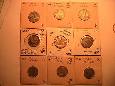 Lot of 9 USSR RUSSIA Soviet Union Era Coins 1931-1956 (3)15 Kopeks, (6)20 Kopeks