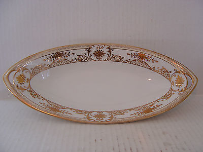 Vintage White And Gold Encrusted Long Oval Relish Celery Dish Cut Out Handles