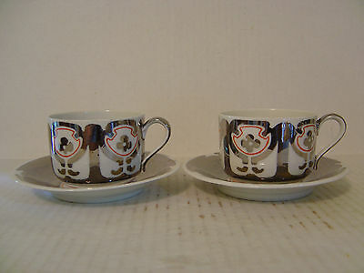 Vintage Set Of Two Hand Painted Silver & White Cup And Saucer Signed Gpu Germany