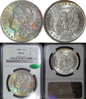 1884 O Ngc Ms64 Cac Nice Color Toned Obverse Morgan Silver Dollar