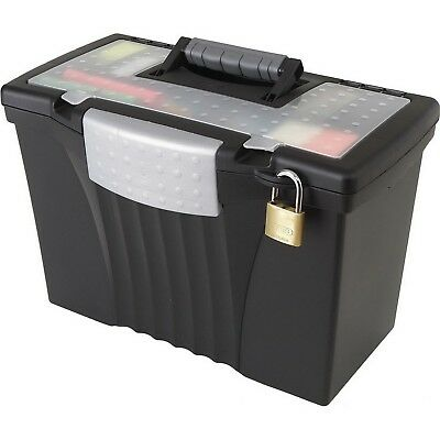 Portable Locking File Storage Box with Organizer Lid Letter / Legal Size Black