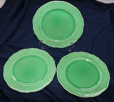 """OLD ROMAN by Homer Laughlin EXTREMELY HTF lot of  3-10"""" Dinner Plates - Green"""