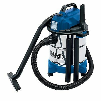 Draper 20L 1250W 230V Wet & Dry Vacuum Cleaner Stainless Steel Tank - 13785