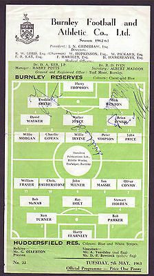 Burnley Res V Huddersfield Res 1963 Programme Orig Hand Signed With 4 Signatures