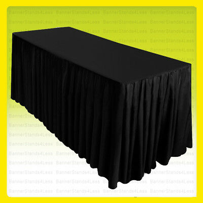 8' Fitted Table Skirt Cover Tablecloth w/Top Topper Wedding Banquet Event BLACK