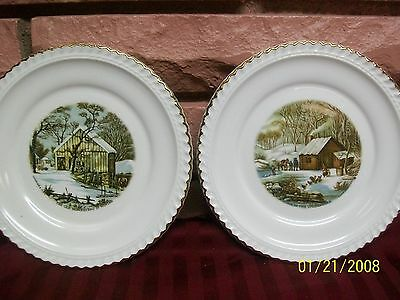 Harkerware Currier & Ives White With Gold Trim Decorative Plates Set Of 2 Used