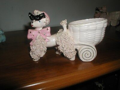Vintage PINK SPAGHETTI POODLE PULLING A CART-VERY NICE