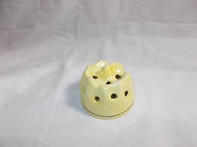 Vintage Flower Frog Made in Czechoslovakia Marked Yellow Pottery Porcelain Deco