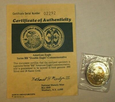 American Double Eagle BB Series commemorative coin with certificate