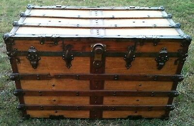 """ANTIQUE STEAMER TRUNK FLAT TOP LARGE SOLID WOOD CHEST 2 TRAYS 42"""" x  25"""" x 23"""""""