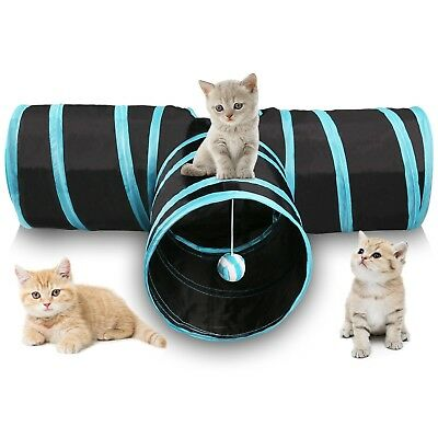 Miaosun Cat Tunnel, 3 Way Collapsible Pet Cat Play Tunnel with Ringing Ball, ...