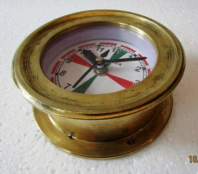SHIP'S CLOCK – Marine RADIO ROOM Clock – BRASS - BOAT / MARINE / NAUTICAL(5010A)