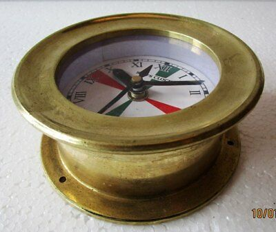 SHIP'S CLOCK – Marine RADIO ROOM Clock – BRASS - ROMAN  - BOAT/NAUTICAL(5010B)