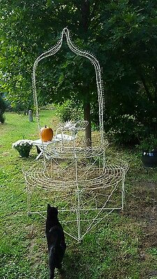 "Antique Victorian Wire work Plant Stand*Garden*3 Tier & Wishing Well *Faery*77""T"