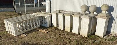 Cast Stone Fencing, Balusters, Piers, Finials, Tops, 9 Sections, Fleur De Lis.
