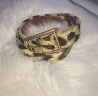 *REAL VINTAGE* Leopard Print Ponyhair Leather Belt Women's Size Small Circa 1960