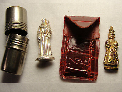 2 Vtg St. Anthony Infant of Prague Miniature Statue Pocket Icon w/ Carrying Case