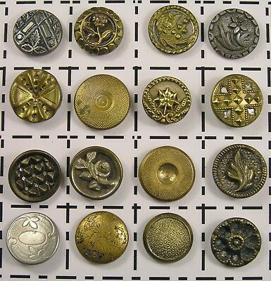 Antique Vintage Victorian Small Metal Buttons Brass Pewter Etched Floral Twinkle