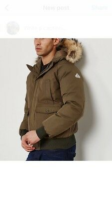 Pyrenex Mistral fur bomber jacket, khaki, new and unused with tags