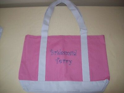 Bridesmaid Terry Tote Bag Pink White Canvas Wedding Bridal Accessories Large New