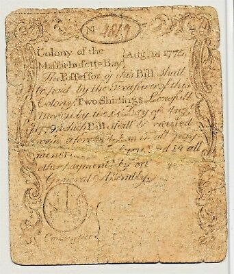 Massachusetts AUG 18, 1775 2 Shilling *Paul Revere Printed* Sword in Hand Note