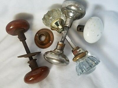 Lot of Antique Vintage Glass~Porcelain Door Knobs & Hardware