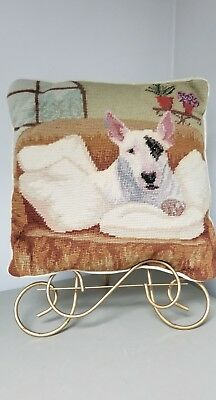 Bull Terrier Dog  HANDMADE Needlepoint Pillow ~VTG ?12X12~(like spuds McKenzie)