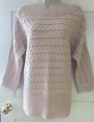 New York & Co Women's Pink Cable Knit Metallic Tunic Sweater Size L