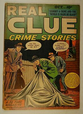 """Real Clue Crime Stories Vol 3 #8 (Oct 1948, Hillman) """"Little Guillotines!"""""""