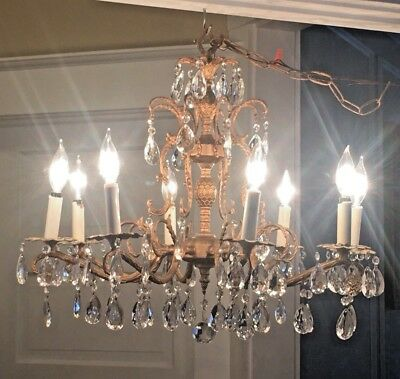 Vintage 8 Arm Brass And Crystal Chandelier 8 Lights