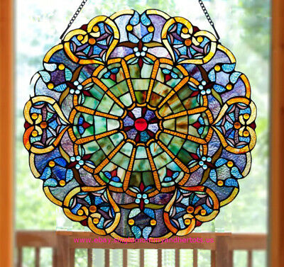 Stained Glass Round Suncatcher 27-inch Window Panel Multi Color Victorian Theme