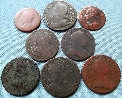 Lot of 8 1600s-1700s Old Coins British US Colonial Coppers Halfpenny Farthing