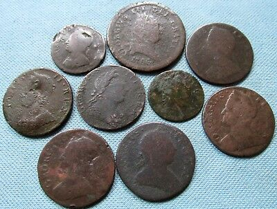 Lot of 9 1700s Old Coins British US Colonial Coppers Penny Halfpenny Farthing