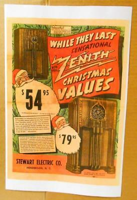 1938 Zenith Radio Color Ad 11X17 Card Stock, Models 6S254, 5S250