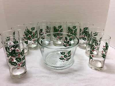 Vintage MCM Lot of Christmas Glasses Snack/Ice Bucket Made in the USA 11 Pieces