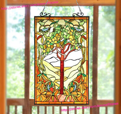 Suncatcher Window Panel Tiffany Style Red 'Tree of Life' Stained Glass 32in Tall