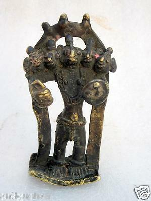 1850's Rare Antique Old Hand Carved Brass South Indian Tribal God Figure Statue