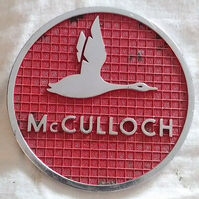 Vintage 1950's McCulloch Chainsaw flying Goose Logo emblem decal metal RARE